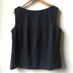St. John Tops - St. John fringe detail black silk sleeveless top